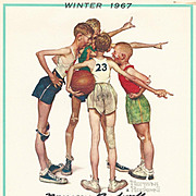 American Art: Norman Rockwell – Hand-Signed 1967 Winter Calendar Page: Basketball
