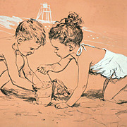 American Art: Bruce Howson, Joan & David H, early 1950s original drawing