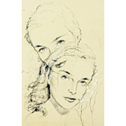 American Art: Bruce Howson, Like Mother Like Daughter - late 1950s Original Drawing