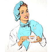 American Art: Bruce Howson, Beauty & Tea, Original Illustration Art