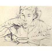 American Art: Bruce Howson, Alphabet Soup - Original Illustration Art Sketch