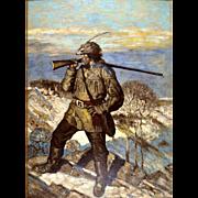 American Art: Scout, vintage original oil on board