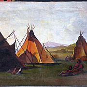 American Art: Albert Bierstadt (After) Indian Camp, Oil on Canvas