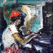 American Modern Art - Jazz Club Pianist, Vintage Original Oil on Masonite
