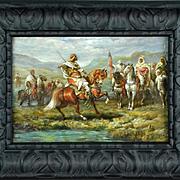 Manner of Adolph Schreyer, Moroccan Horsemen, Original Vintage Oil on Canvas