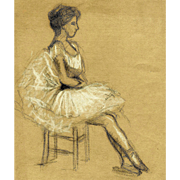 Sitting Ballet Dancer – Vintage French Drawing