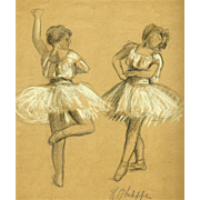 Ballet Dancing Duet – Vintage French Drawing