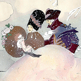 Young Ladies in a Snow Storm, Vintage art by Gaston Maréchaux (1872-c.1936)