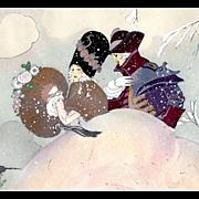 Young Ladies in a Snow Storm, Vintage art by Gaston Maréchaux (1872-c.1936)