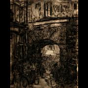 """American Art: Jerome Myers - """"Paris Market"""", Antique Lithograph circa 1896"""