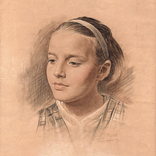 French School: Portrait of a Girl - Vintage Signed Mixed Media Drawing
