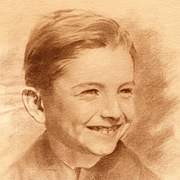 French School: Portrait of a Smiling Boy - Vintage Signed Drawing