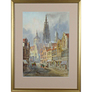E. G. Van Stappen (Belgium, 19th C.): Antwerp. Framed Signed Watercolor