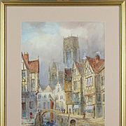 E. G. Van Stappen (Belgium, 19th Century.) -  Town View. Framed Signed Watercolor