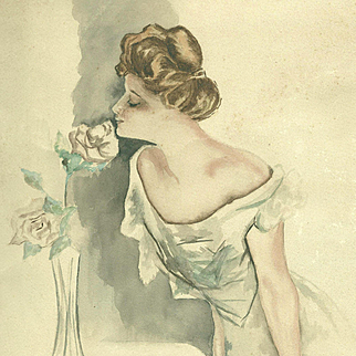 American Art - Beauty and the Rose - Antique Watercolor Beauty Illustration