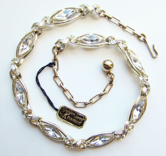 C1960 Kramer Rhinestone Golden Look Link Necklace wOriginal Hang Tag