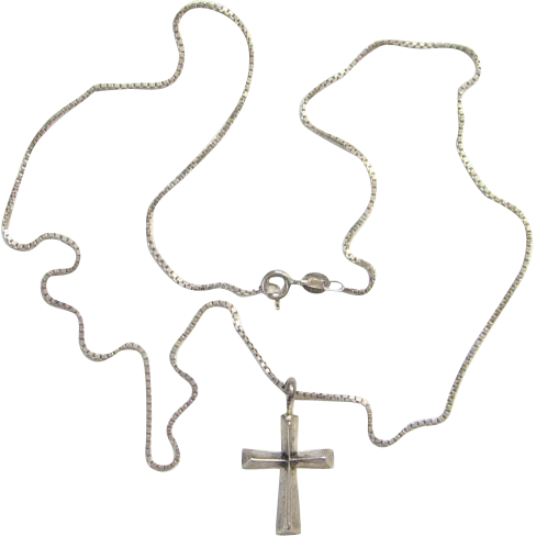 Sand Cast Sterling Silver Pendant Religious Cross on Necklace Chain