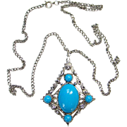 Southwestern Style Pendant Necklace Turquoise Glass Stones Silvertone Costume Jewelry