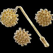 Castlecliff  Stick Pin Clip Earrings Set 1950-60 Goldtone Costume Jewelry