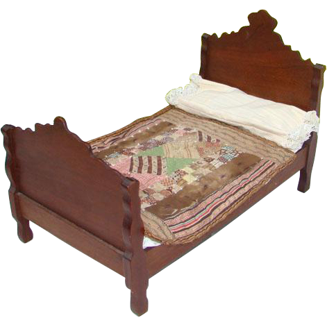 Victorian 19thC Wooden Walnut Doll Bed for Bisque China Head with Bedding Mattress Quilt