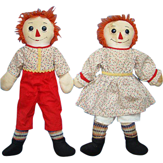 Raggedy Ann and Andy Doll Pair in Red Yellow Calico 21 Inch Handmade