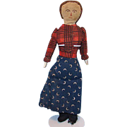 19thC Antique Miniature Child Church Rag Cloth Doll in Blue Calico Skirt