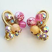 Juliana DeLizza & Elster Pink AB Rhinestone Clip Earrings Metal Accents Bead Dangles