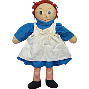 Vintage Raggedy Ann Doll in Blue Cotton Dress 19 Inch Handmade