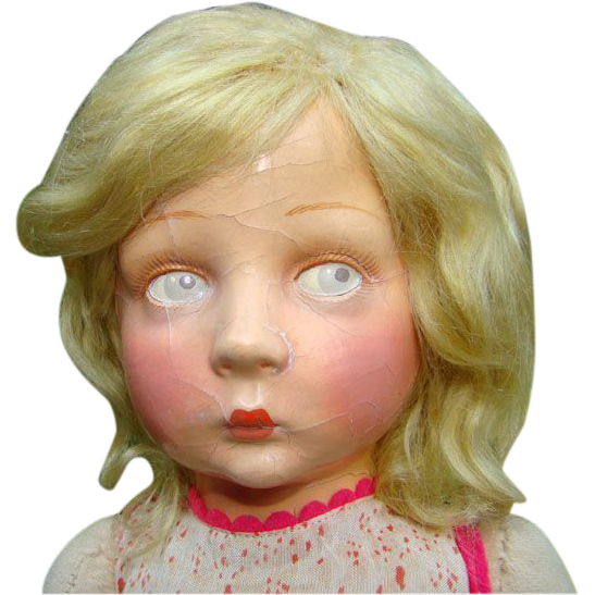 Lenci Cloth Doll Washable Face Original Clothing C1930s