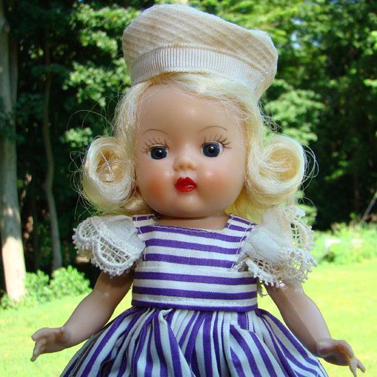 Nancy Ann Muffie Doll Bright Blonde Strung Purple Stripe Dress Box