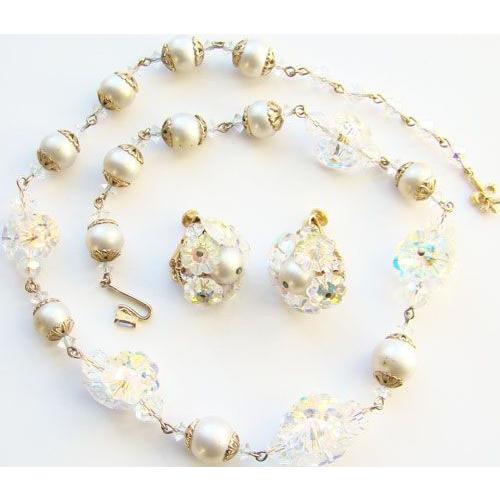 Vintage Vendome Aurora Borealis Crystal Disk Choker Necklace Earrings Set