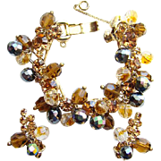 C1960 Juliana DeLizza + Elster Bracelet Earrings AB Beads Rhinetone Set
