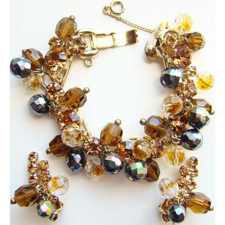 C1960 Juliana DeLizza & Elster Bracelet Earrings Rhinetone Set Aurora Borealis Bronze Beads