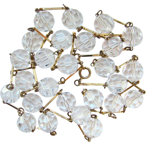 Vintage Austrian Crystal Clear Faceted Bead Necklace Long 46 Inches Beautiful