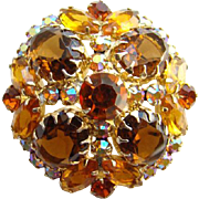 1963 Designer Juliana DeLizza and Elster Multipronged Brooch Topaz Rhinestone Goldtone Setting