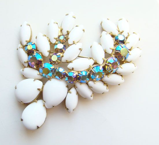 Dramatic Chalk White Milk Glass AB Rhinestone Leaf Brooch Stylized