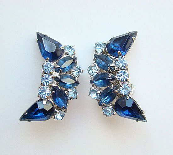 Graceful Vintage Royal Blue Rhinestone Clip Earrings