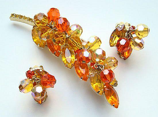 Vintage Rhinestone Leaf Brooch Earrings Amber Tangerine