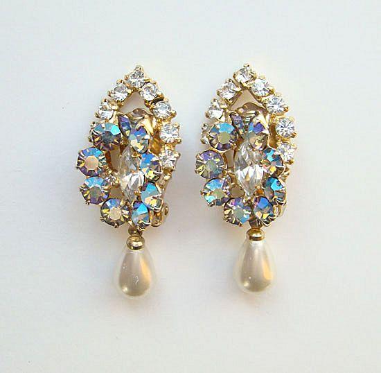 Vintage AB Rhinestone Imitation Pearl Drop Clip Earrings