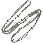 Vintage Long Silvertone Necklace Chain and Bead Flapper Length Pretty