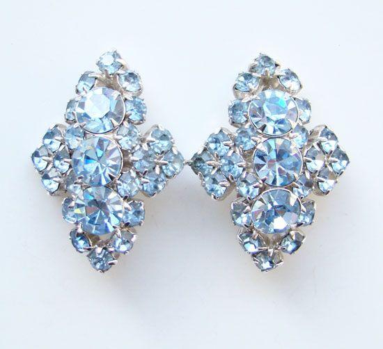Vintage Sparkling Sapphire Blue Rhinestone Earrings Unsigned