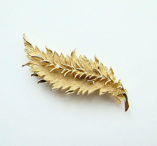 Vintage Hattie Carnegie Brushed Gold Tone Leaf Brooch