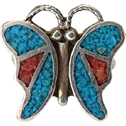 Old Zuni Turquoise and Coral Mosaic Sterling Silver Inlay Butterfly Ring Size 5