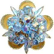 Juliana DeLizza + Elster Blue Rhinestone Cup Bead Brooch