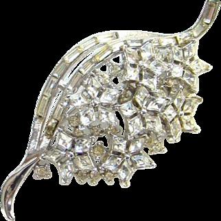 Vintage Crown Trifari Twinkle Clear Rhinestone Brooch 1952 Alfred Philippe For Trifari