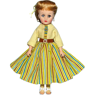 Miss Nancy Ann Vinyl Fashion Doll Blonde Ponytail in Yellow Striped Outfit 1957