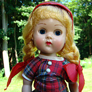 C1957 Vogue ML Ginny Doll Red Gray Plaid Outfit BKW Matches Jill