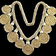 Vintage Monet Goldtone Dangle Pierced Disk Choker Necklace Signed