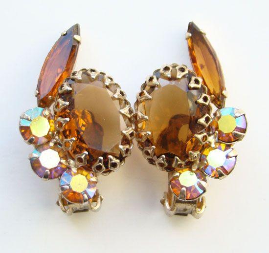 Vintage Topaz Aurora Borealis Rhinestone Clip Earrings