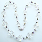 Dramatic Retro Clear Lucite Rhinestone Graduated Bead Necklace